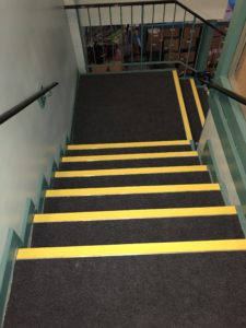 Abbey Lyndon install staircase at Oak Hill First School